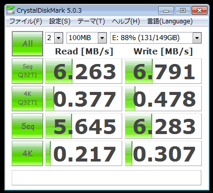 Fedora23/VirtualBox/Windows 7上で外付けIO-DATA HDC160のCrystalDiskMark測定値