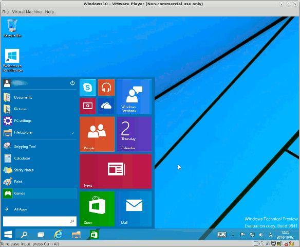 Windows 10 Technical Previewデスクトップ画面1