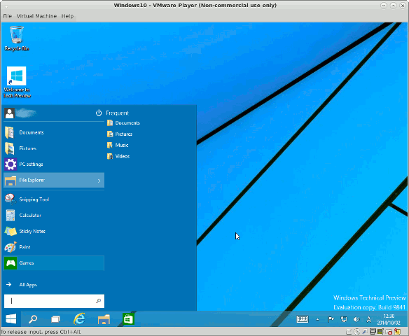 Windows 10 Technical Previewデスクトップ画面2