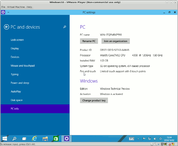 Windows 10 Technical Preview/PC Info