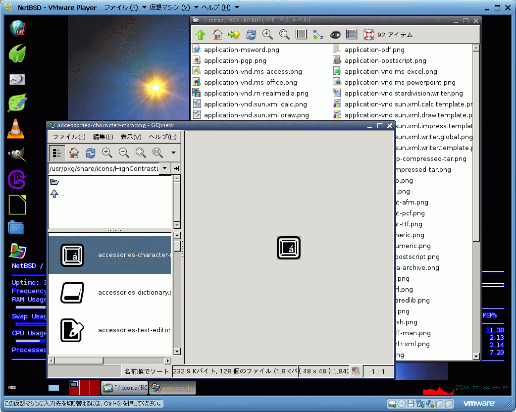ROX Filer and GQView on NetBSD by VMware Player